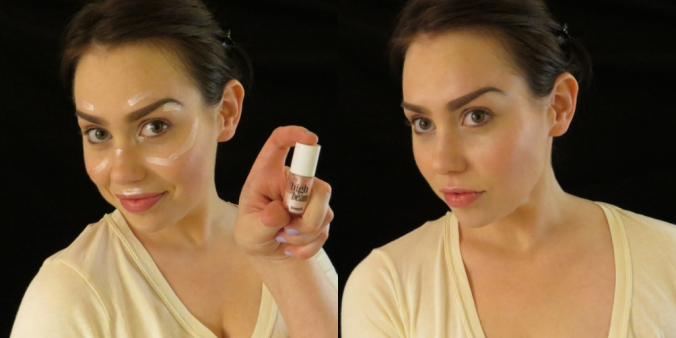 Tap some highlighter (like Benefit High Beam) onto the high planes of your face, then blend with a damp sponge.
